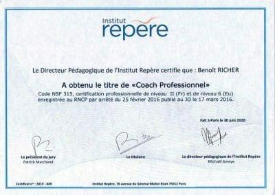 Diplôme - Coach Professionnel - Institut Repère